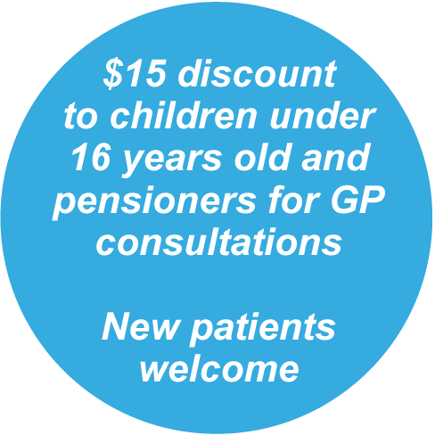 $15 discount for children under 16 years old and pensioners. New patients welcome.